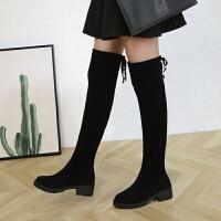 过膝长靴女内增高5050新款秋冬显瘦高筒弹力靴平底定制长筒靴子女 黑色
