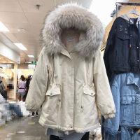 冬季外套女学生韩版原宿风棉衣女中长加绒加厚工装牛仔派克服 均码 大毛领90-120斤