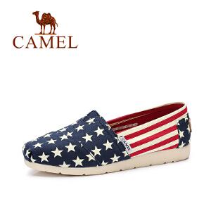 Camel/骆驼女鞋 2017春夏新款 舒适透气帆布鞋 时尚平底单鞋