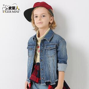 小虎宝儿童装男童牛仔外套儿童开衫上衣春秋款韩版2018春季新品