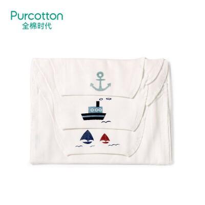 全棉时代 (船锚+轮船+帆船)纱布汗巾25x50cm3条/袋
