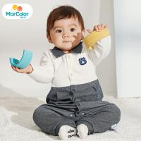 【2件3折】马卡乐童装2020春新款男宝宝连体服假两件拼接设计男童连体服
