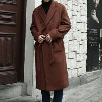 冬季双面羊绒大衣男长款青年韩版过膝双排扣呢子外套潮流帅气宽松 小码M[ 建议110-130斤]