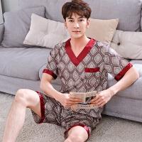 201807121702083252018春夏季男士睡衣夏天半袖短裤日式休闲加肥加大码套装红色