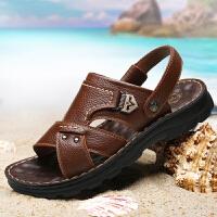 承发 凉鞋男士皮凉鞋男式套脚户外沙滩鞋男 10498