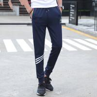男士运动裤束脚裤收口卫裤跑步哈伦裤休闲长裤薄款青少年修身裤子