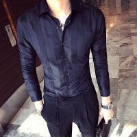 秋款青年休闲帅气暗格纹长袖衬衣型男韩版修身潮流百搭发型师衬衫