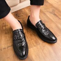 品牌男鞋夏季透气男士皮鞋韩版潮流百搭鳄鱼纹英伦商务休闲鞋子男潮鞋