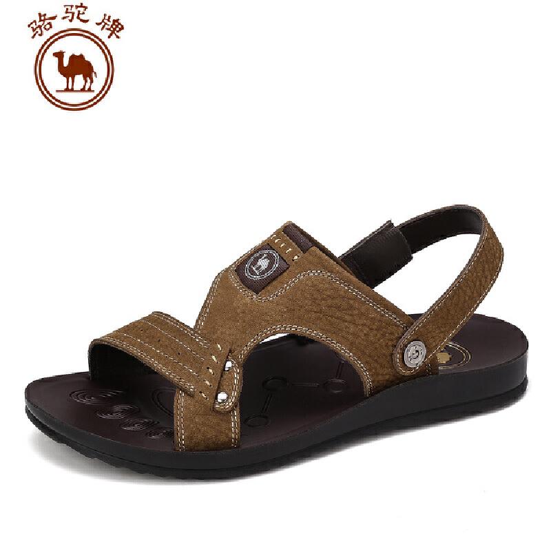 骆驼牌男凉鞋 夏季新品男士 日常休闲皮鞋牛皮透气沙滩鞋子