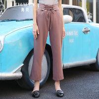 海贝夏季新款女装 简约抽绳系带高腰休闲裤女长裤直筒裤纯色