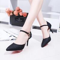 高跟鞋新款韩版百搭黑色少女高跟单鞋细跟尖头性感职业OL工作女鞋