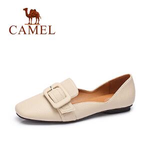 camel骆驼女鞋 2017春夏新款 日系简约皮带扣纯色单鞋浅口套脚鞋