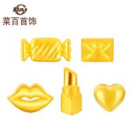 菜百首饰 黄金耳钉 足金时尚个性耳钉 黄金单只耳饰 多种造型随意搭配 定价