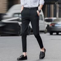 韩版九分裤男夏季商务小西裤胖子修身小脚英伦风加肥加大码矮个子 黑色 39(3尺)腰围