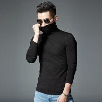 秋冬季青少年男装韩版西服半高领打底衫潮流T恤男长袖新款2018新品