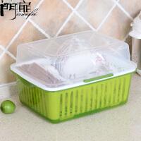门扉 厨房置物架 整理收纳厨房碗柜塑料沥水碗架带盖装碗筷收纳箱放碗盘置物架 餐具收纳盒