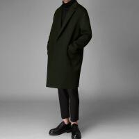 毛呢大衣男中长款落肩冬季韩版双面呢羊毛妮子风衣无羊绒呢子外套 军绿色 M