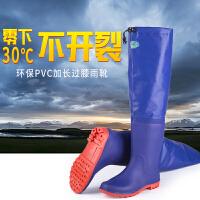 过膝中筒高筒雨鞋雨靴男女超高筒长筒防水鞋防滑钓鱼靴厚底下水鞋 60公分蓝带跟下水鞋001 标准码