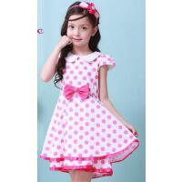 女童夏装连衣裙粉色韩版中大童夏季波点公主裙小女孩裙子