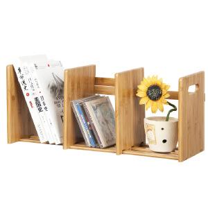 御目 书架 创意桌面可伸缩楠竹置物收纳架办公桌上储物架简易学生迷你整理架子家具用品