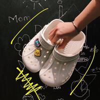【夏季特惠】夏季时尚@港仔文艺男 学生男女夏季居家室外洞洞鞋子韩版凉鞋个性百搭拖鞋