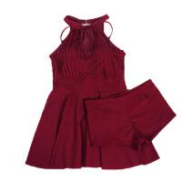 小胸针织钢托款分体裙式平角裤两件套女泳衣