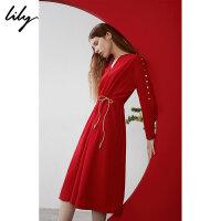 Lily春新款女装商务红色系绳套头收腰长袖连衣裙119100C7255