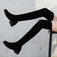 靴子女秋冬季显瘦弹力靴低跟高筒加绒黑色过膝长筒靴平底粗跟长靴 跟高3厘米【筒高 58厘米】单里