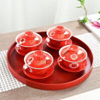 敬茶 敬茶杯 结婚 套装龙凤双喜对杯红色喜庆茶具三才盖碗陶瓷中式茶壶