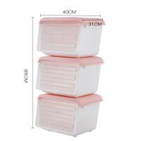 收纳箱 斜口翻盖塑料透明厨房储物箱侧开门儿童玩具零食衣物整理箱 40*31*30cm