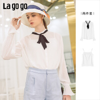 【领�幌碌チ⒓�120元无门槛优惠券】Lagogo/拉谷谷2019年夏季上衣雪纺白色喇叭袖衬衫两件套女IACC833A2