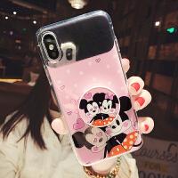 卡通可爱8plus苹果x手机壳xs max镜面软壳xr支架iphone7全包6女款 i6/6s 镜面支架 米奇米妮