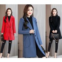 班图诗妮 2018新款中长款时尚百搭韩版气质修身显瘦加厚呢子大衣潮