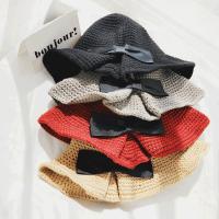 毛线渔夫帽女卷边针织秋冬季蝴蝶结可折叠盆帽纯色帽子