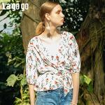 Lagogo/拉谷谷2019年夏季新款时尚女系带印花衬衫IACC305C25