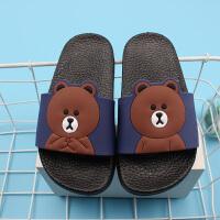 夏季新款儿童凉拖鞋宝宝拖鞋大童男童卡通小熊软底防滑亲子款
