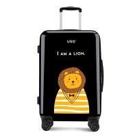 【支持礼品卡】USO新品卡通印花24寸男行李箱万向轮拉杆箱女学生20寸登机旅行箱