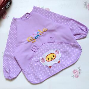 Yinbeler双层防水反穿衣宝宝婴儿食饭衣吃饭罩衣围兜画画衣大码中码小码儿童罩衣饭兜长袖