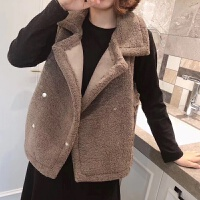 长款马甲女冬季短外套松毛织衫针织衫背心撞色领珍珠显瘦