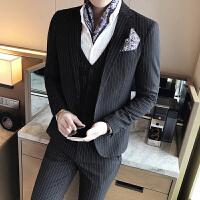 秋季西服套装男士韩版修身条纹西装新郎结婚礼服发型师夜店小西装