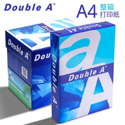 整箱Double A a4打印复印纸白纸批发70ga四80g500张纸a3办公用品 整箱5包装 每包500张 原装进口