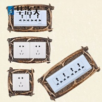 美式复古鹿角壁挂创意装饰贴钥匙挂钩开关贴墙贴面板保护套G