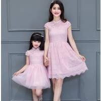 新款蕾丝网纱短袖修身绣花复古连衣裙亲子装旗袍裙母女装夏装