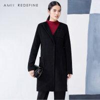 [东方极简]冬季新品不对称斜门襟修身大码羊毛呢外套女装