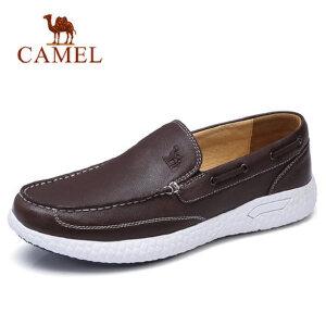 camel 骆驼男鞋2018新款轻质牛皮休闲鞋帆船鞋轻便套脚休闲皮鞋男