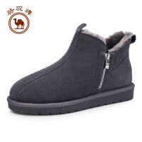 骆驼牌男士靴子 新款保暖加绒雪地靴男休闲时尚牛皮鞋