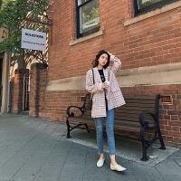 西装外套女春秋2019韩版宽松学生小西服白领职业装工作服 格子