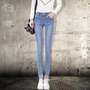 Modern idea夏季中腰牛仔裤女长裤新款小脚铅笔裤韩版显瘦弹力休闲裤子