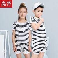 时尚休闲儿童条纹套装 运动休闲短袖印花男童夏装女宝宝童装