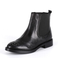 ST&SAT星期六专柜切尔西低跟平跟女靴牛皮英伦SS54112969